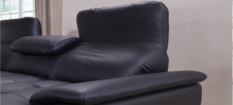 Canap d 39 angle gauche convertible cuir noir mezzio - Canape d angle cuir noir ...