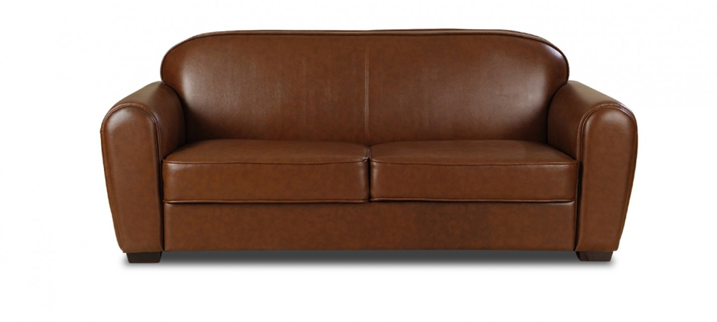 Canape cuir marron for Soldes canape 3 places