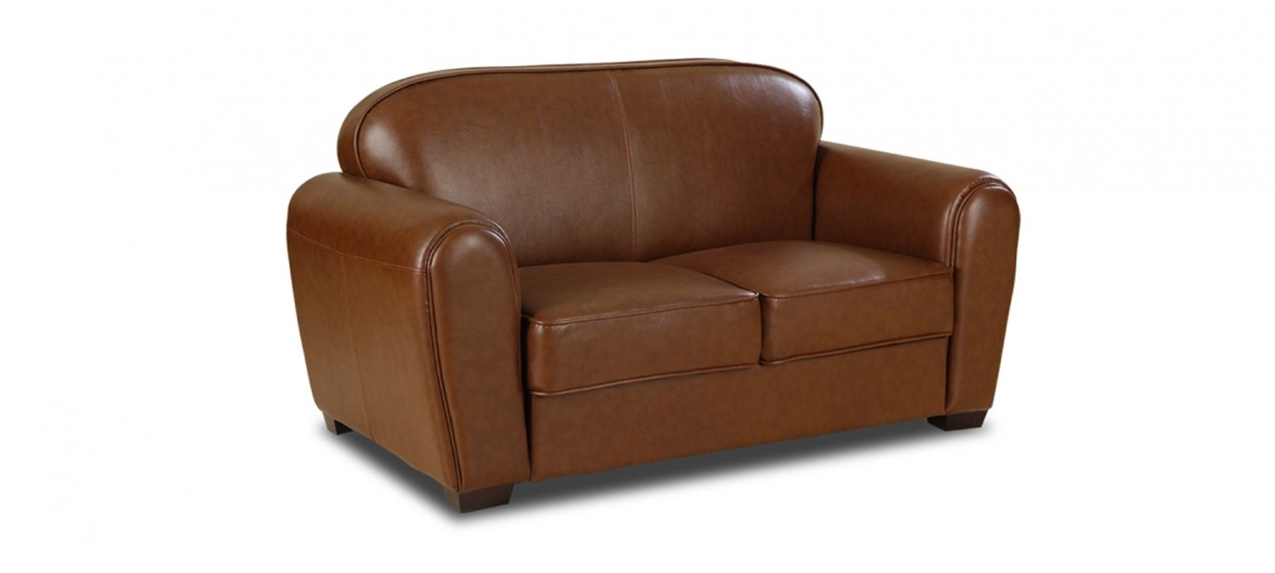 Canape 2 places marron maison design - Canape simili cuir marron ...