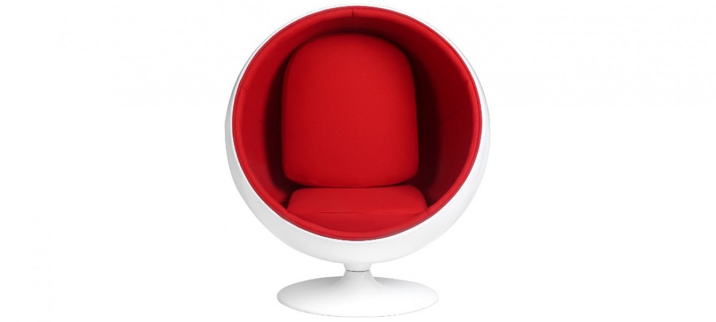 Fauteuil design velours rouge boule ball chair - Fauteuil design boule ...