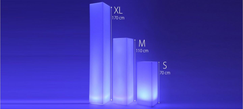 colonnes led lumineuses carr prix r duits. Black Bedroom Furniture Sets. Home Design Ideas
