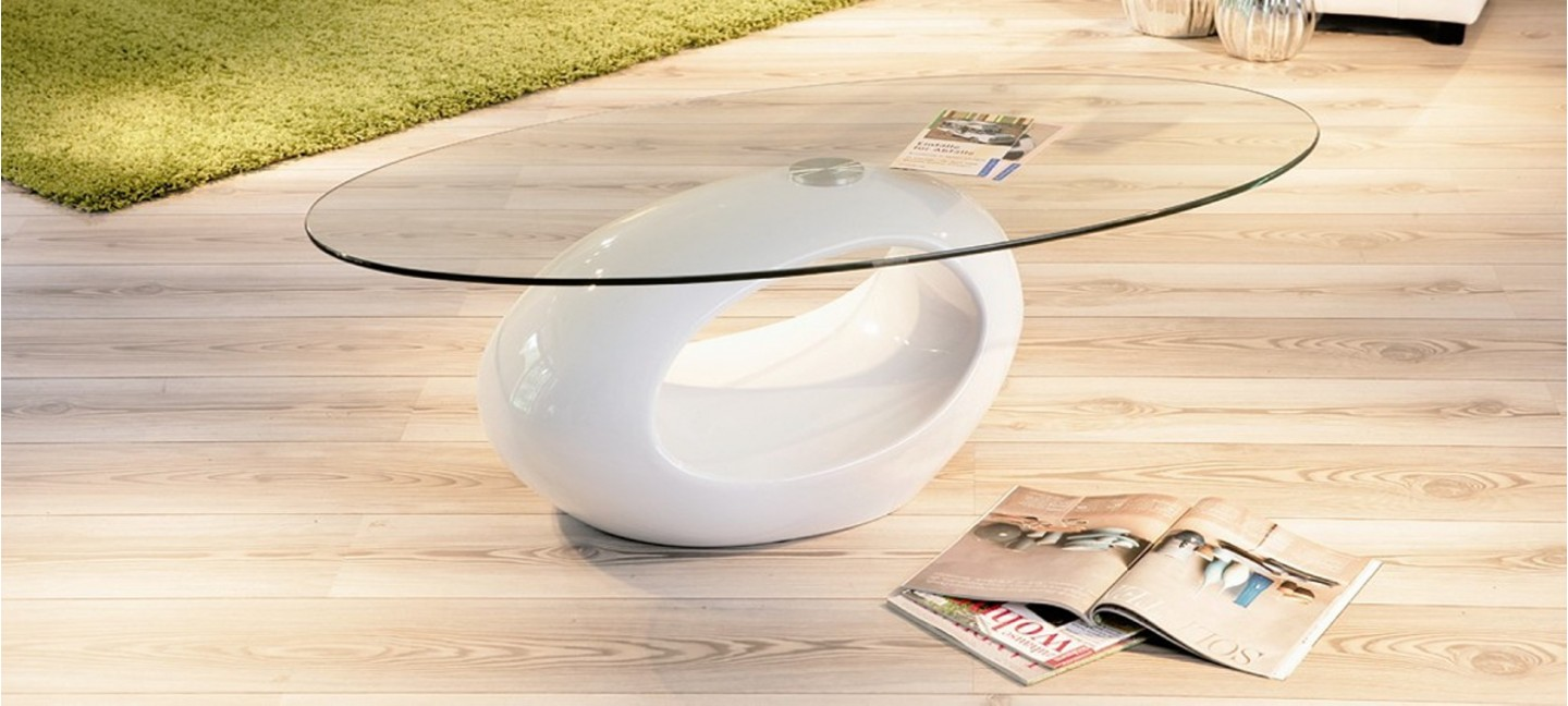 Table basse design ronde blanche symbiose for Table basse design ronde