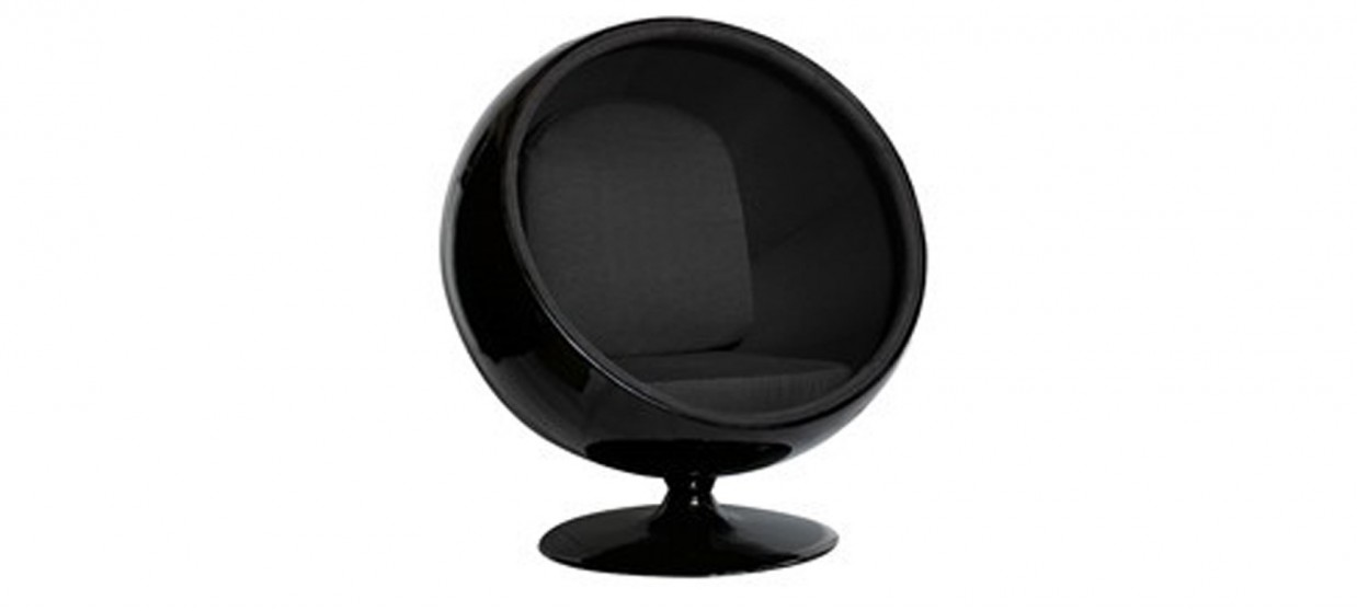 fauteuil design velours noir boule ball chair. Black Bedroom Furniture Sets. Home Design Ideas