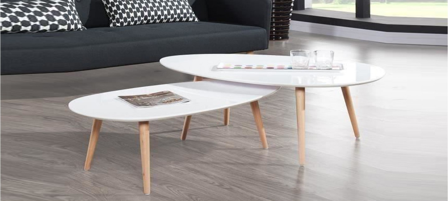 Table ovale scandinave - Table basse de salon blanche ...