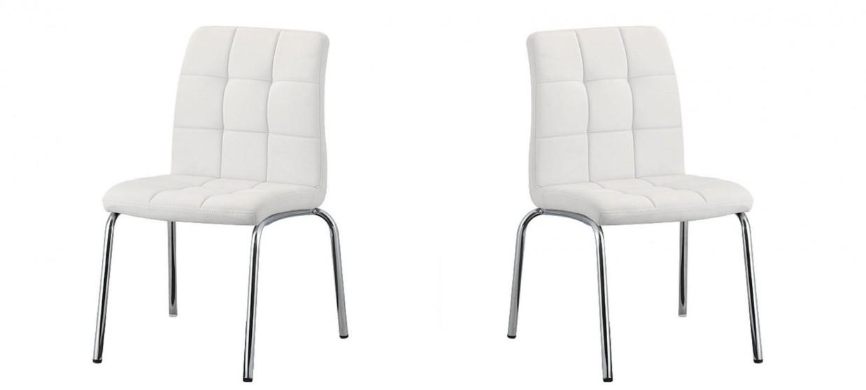 Chaise de cuisine blanche en simili cuir prix cass - Chaise de salle a manger blanche ...