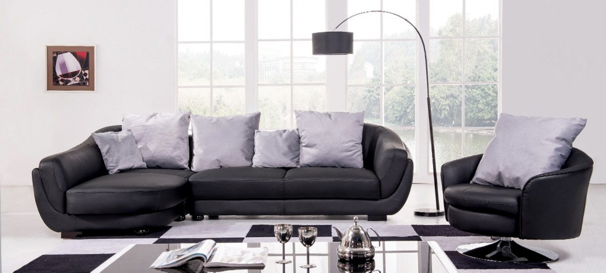 Canapé d'angle gauche en cuir noir - Colorado