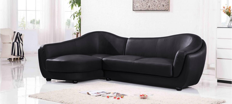 Canap d 39 angle gauche cuir noir colorado for Entretenir son canape en cuir