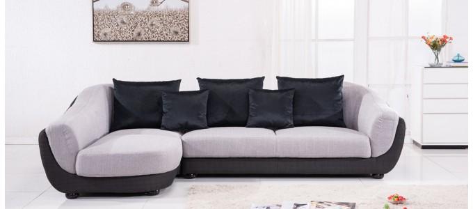 Canapé d'angle gauche en tissu gris - Colorado
