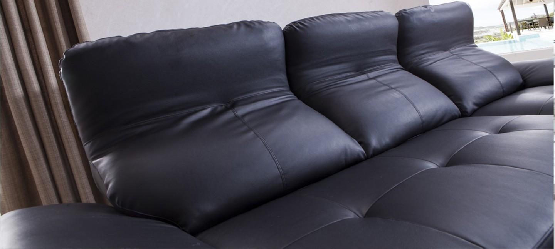Canap noir en cuir en stock a prix bas - Canape d angle cuir noir ...