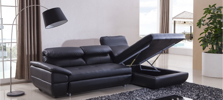 canap d 39 angle convertible en cuir prix imbattables. Black Bedroom Furniture Sets. Home Design Ideas
