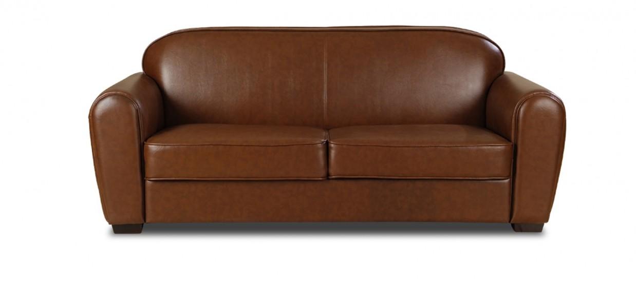 Canap 3 places simili cuir marron club for Housse de canape en simili cuir