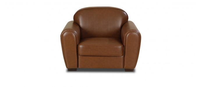Fauteuil 1 place en simili (PU) marron - Club