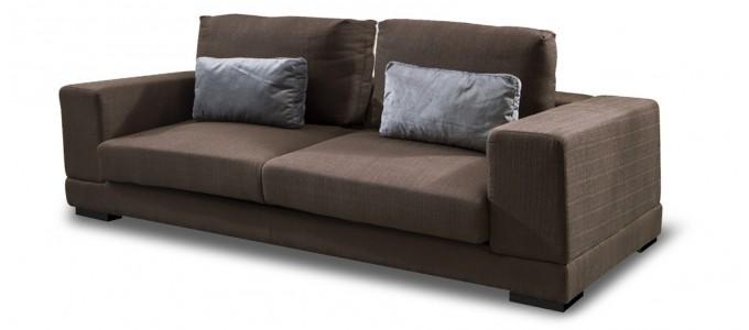 Canapé 4 places en tissu marron - Lampa