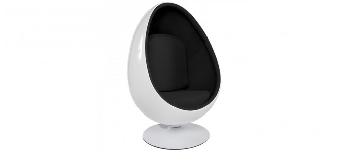Fauteuil design en velours noir - Oeuf egg chair