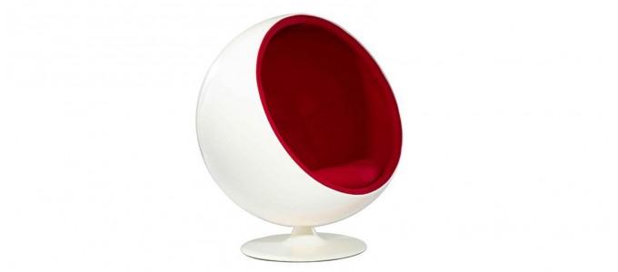 Fauteuil design en velours rouge - Boule