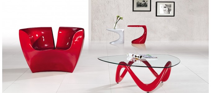 Table basse design rouge - Niagara