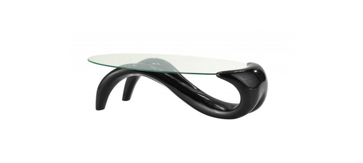 Table basse design ronde noire - Wave