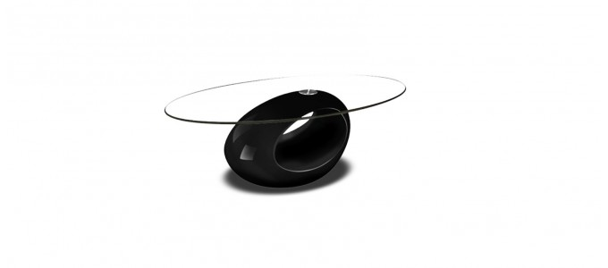 Table basse design ronde noire - Symbiose