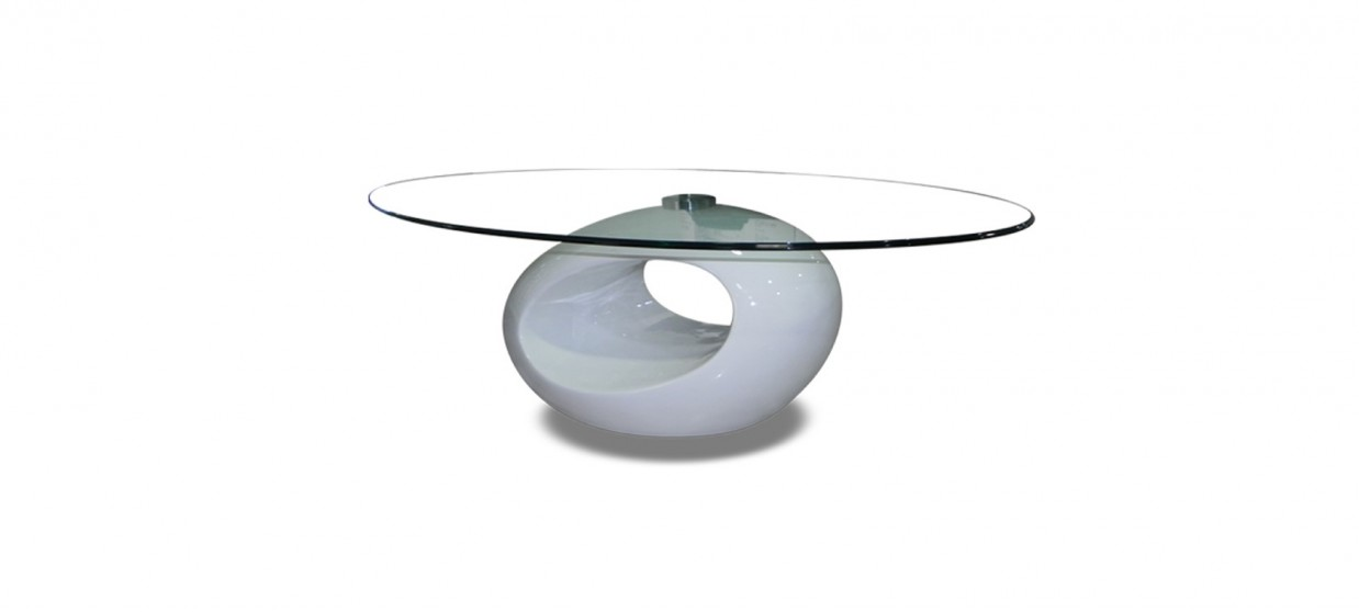 Table basse design ronde blanche symbiose - Table basse design blanche ...