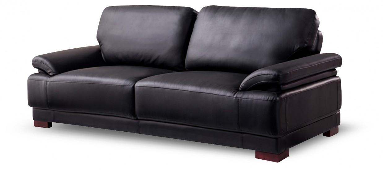 Canapé 3 places en cuir noir - Glam