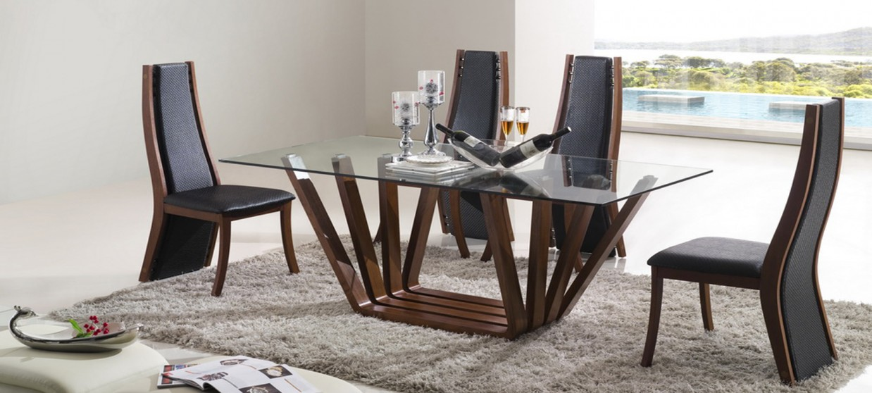 Table manger design en bois berobella - Table salle a manger design pied central ...