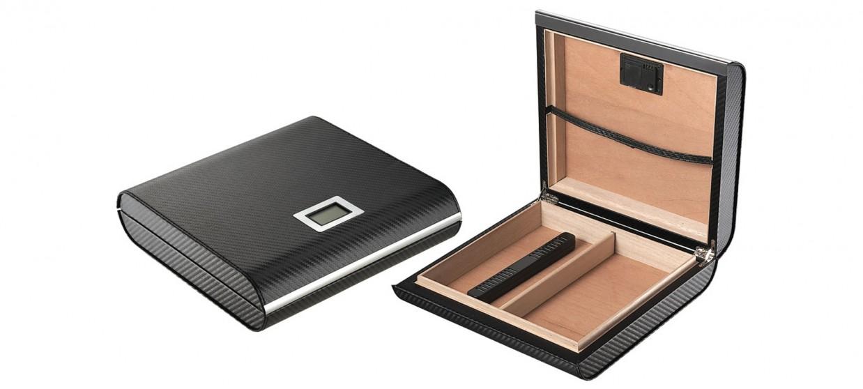 Cave à cigares style carbone en bois - 20 cigares