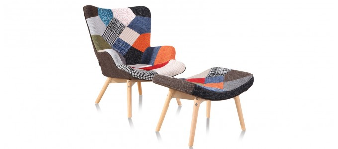 Fauteuil patchwork en tissu - Stockholm