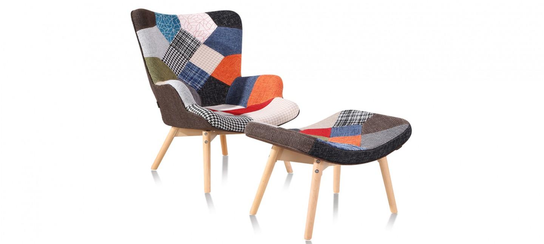 Fauteuil patchwork en tissu stockholm designetsamaison - Fauteuil tissu patchwork ...