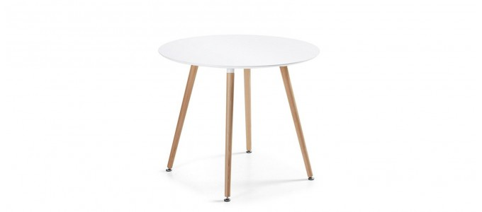 Table à manger ronde design blanche 100cm - Alta