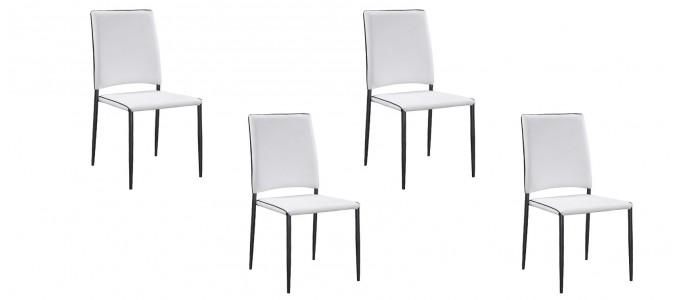 Lot de 4 chaises salle à manger blanches - Tudelia