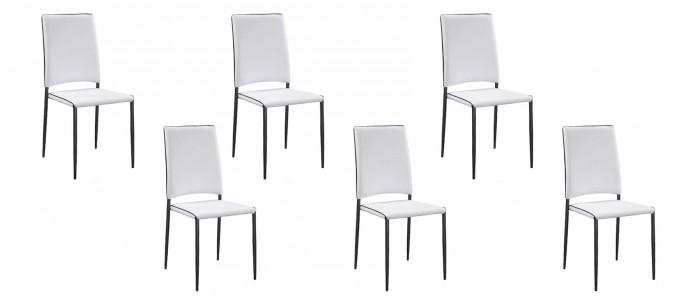 Lot de 6 chaises blanches - Tudelia