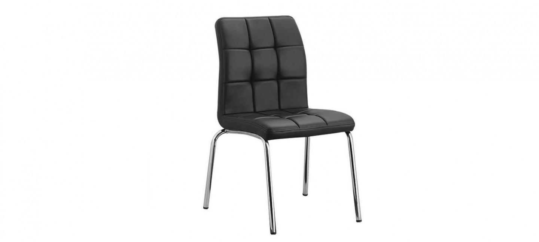 chaise capitonn e en simili cuir noir prix canon. Black Bedroom Furniture Sets. Home Design Ideas