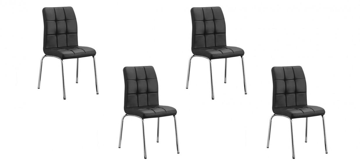 Lot de 4 chaises salle à manger noires - Nursia