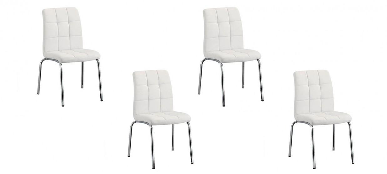 Lot de 4 chaises salle à manger blanches - Nursia