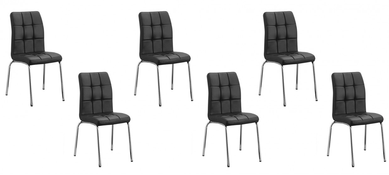 Lot de 6 chaises capitonn es noires en simili cuir for Lot 6 chaises noires
