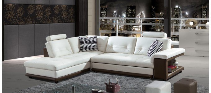 Canapé d'angle gauche convertible en cuir blanc et taupe - Lumia