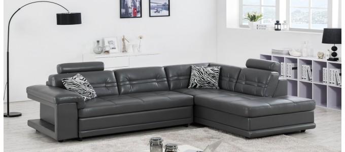 Canapé d'angle droit convertible en cuir gris foncé - Lumia