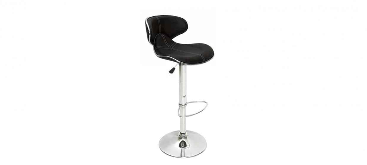 tabouret de bar design noir avec coutures volta - Tabouret Bar Design