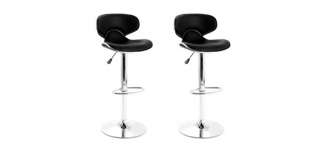 Lot de 2 tabourets de bar design noir - Volta