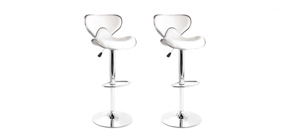 lot de 2 tabourets de bar design blanc avec coutures volta - Tabouret Bar Design
