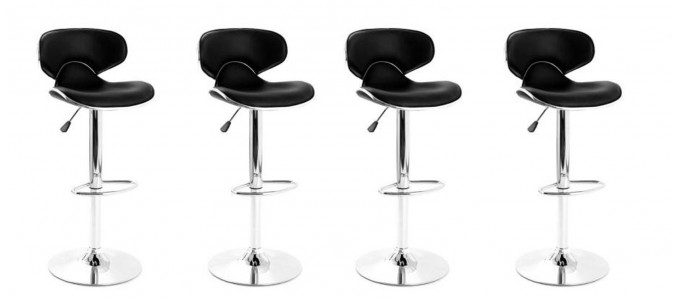 Lot de 4 tabourets de bar design noir - Volta