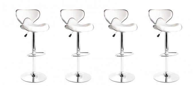 Lot de 4 tabourets de bar design blanc avec coutures - Volta