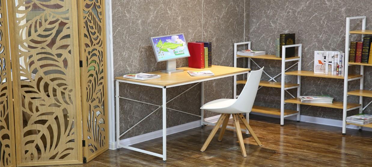 Bureau en bois rétro métal blanc - Tanaro