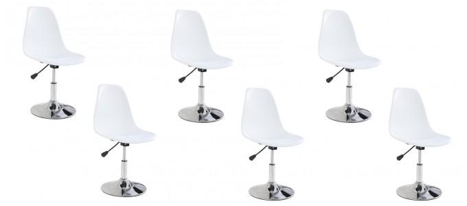 Lot de 6 chaises salle à manger blanches - Soft
