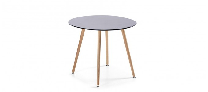 Table à manger ronde design noire 100cm - Alta
