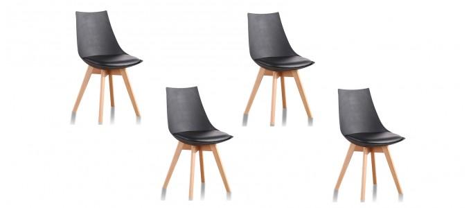 Lot de 4 chaises design noires - Prague
