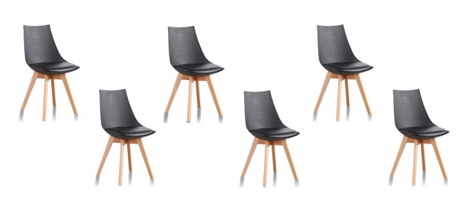 Lot de 6 chaises scandinaves noires - Prague