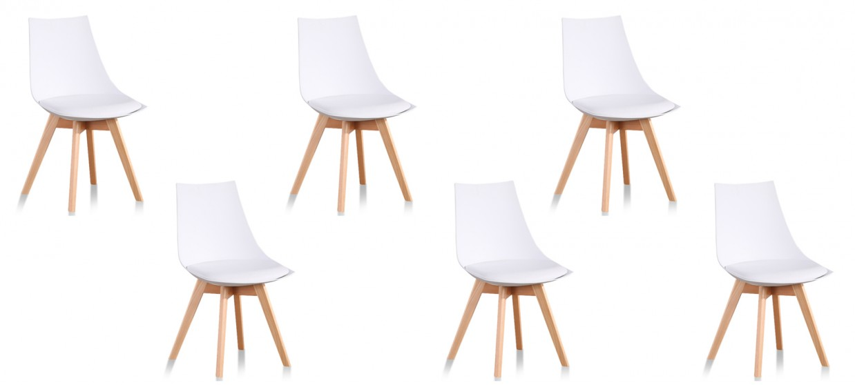 Lot de 6 chaises scandinaves blanches - Prague
