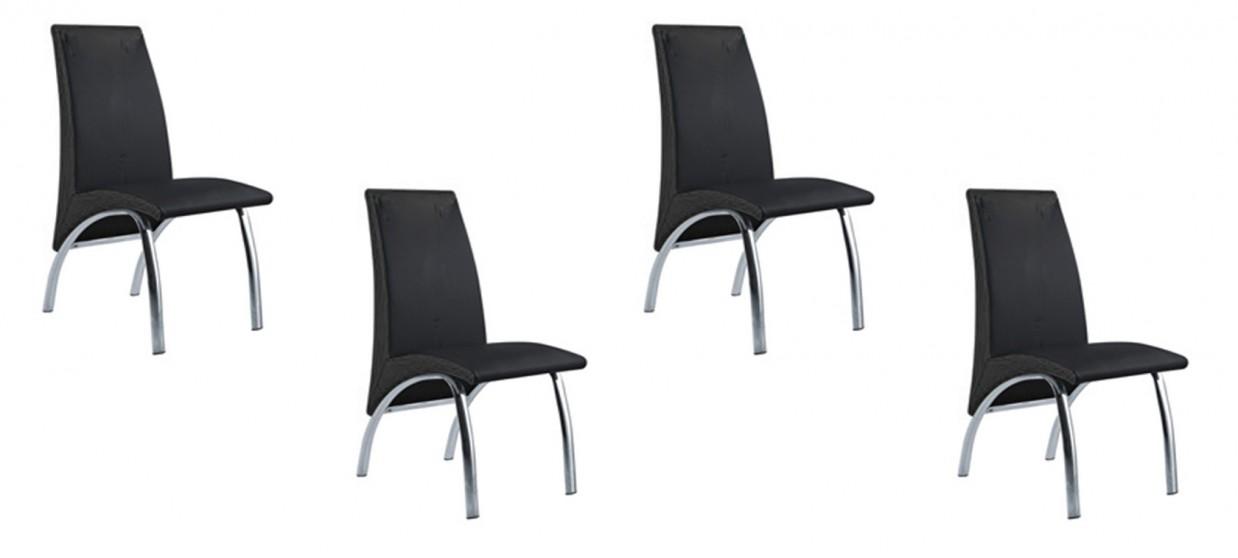 Lot De 4 Chaises Noires Pour Cuisine Et Salle Manger