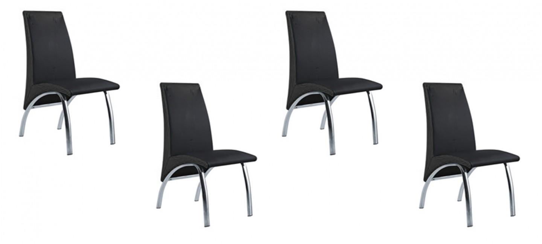 Lot de 4 chaises noires pour cuisine et salle manger - Lot chaises salle a manger ...